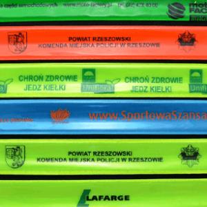 Przykładowa realizacja firmowych opasek odblaskowych samozaciskowych w różnych kolorach