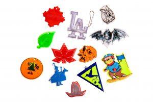 odblaskowe zawieszki miękkie, różne symbole